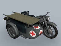 bmw r-12 wwii ambulance 3d max