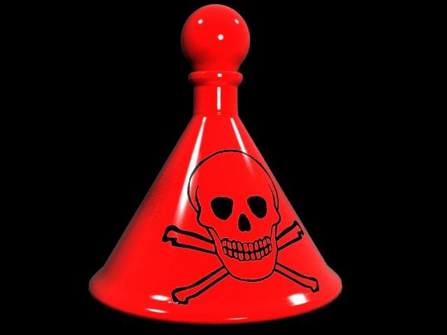 3d poison skull bottle model