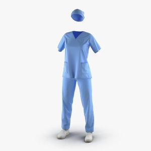 3d model female surgeon dress 16