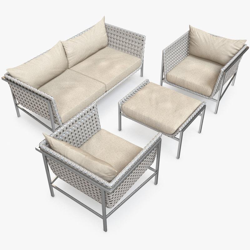 3d twin palms sofa lounge chair model