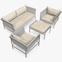 3d twin palms sofa lounge chair model