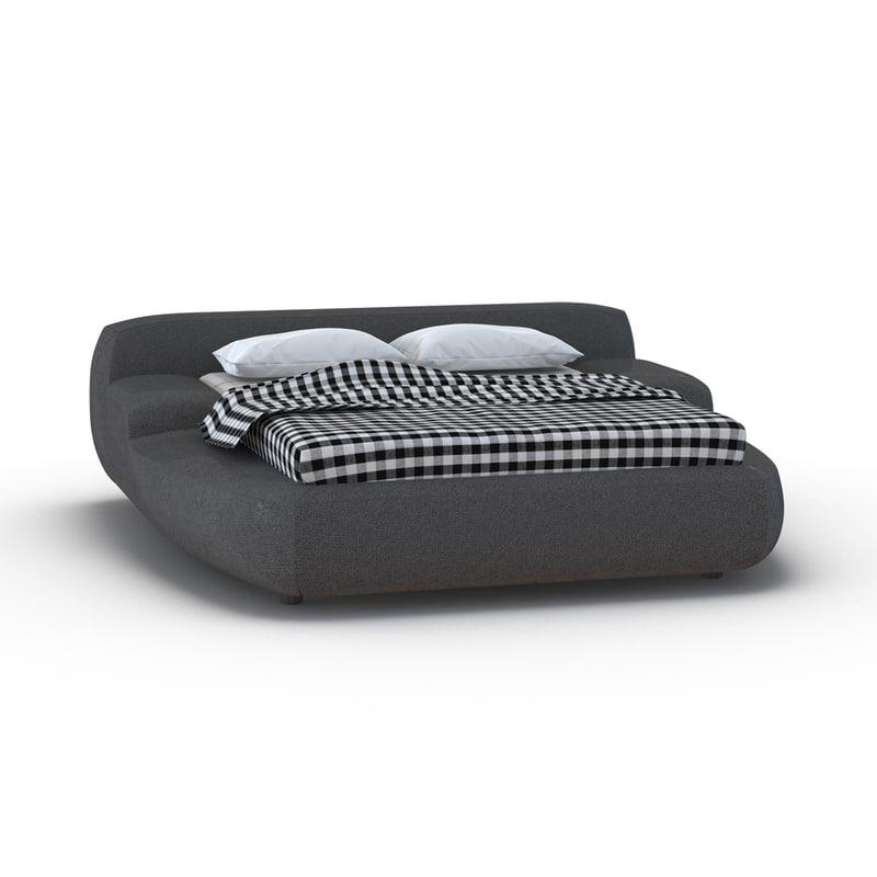 upholstered bed 4 3d model