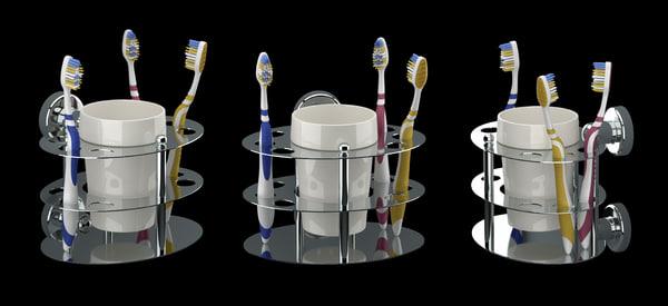 3d 3 toothbrush holder model