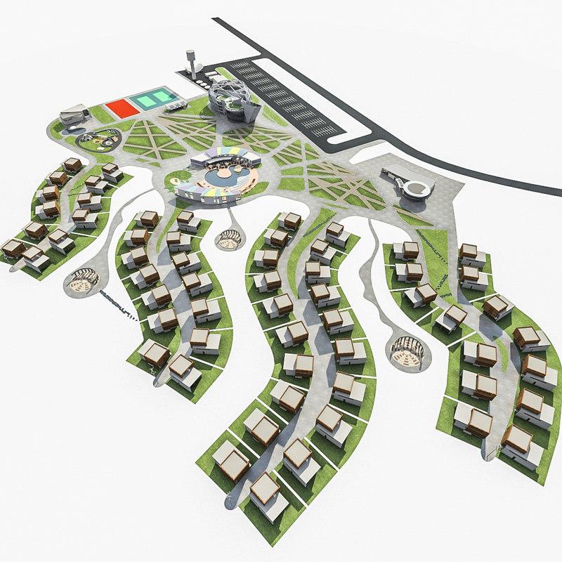 3d model sport resort complex landscape