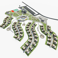 3d model sport resort complex landscape