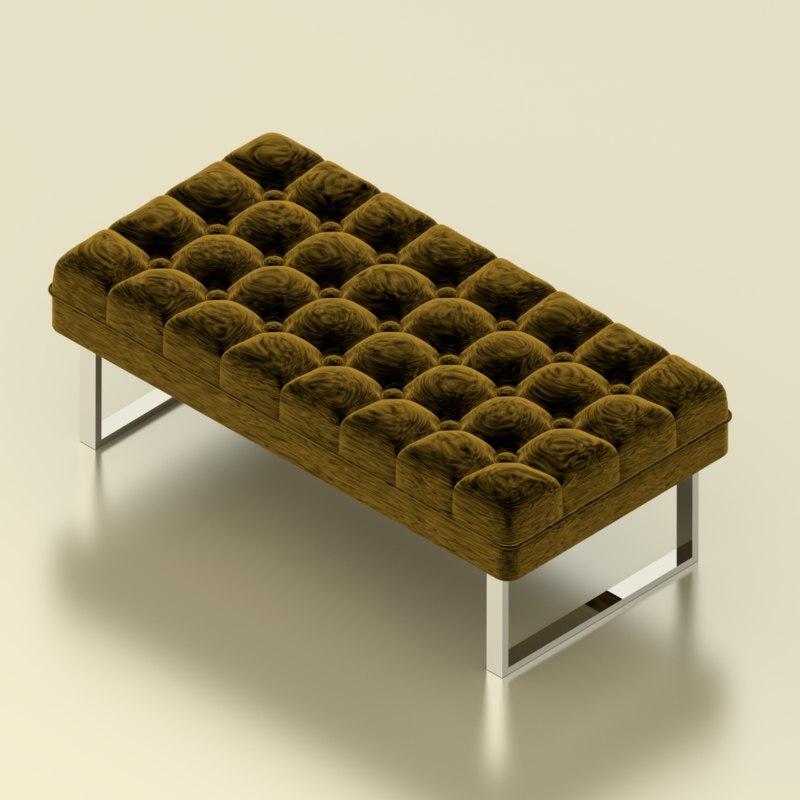 padded bench 3d blend