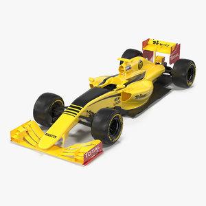 3d model formula car yellow