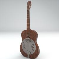 brass guitar 3d model