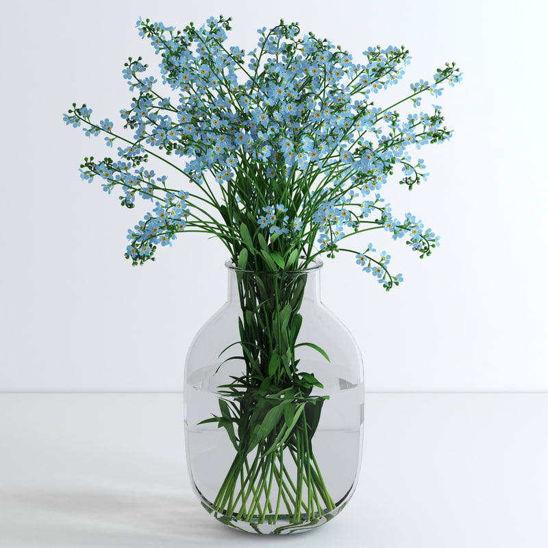 obj vase forget-me-not flowers