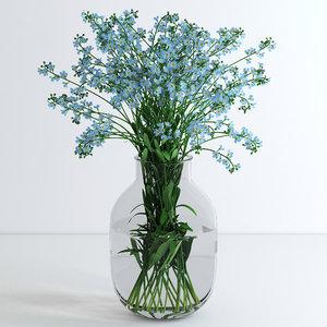 obj vase forget-me-not flowers