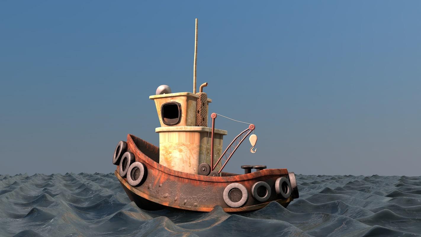 cartoon boat c4d