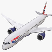 Boeing 787-9 Dreamliner British Airways Rigged 3D Model