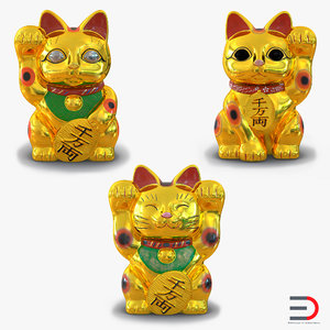 3d golden maneki neko model