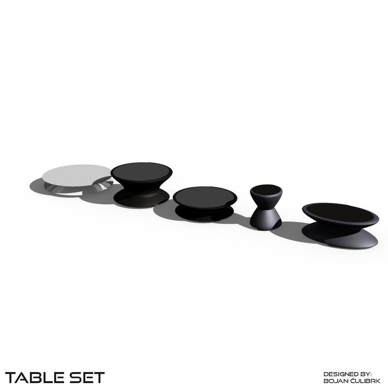 table set 3d obj