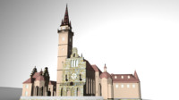 3d model of holy church basilica engraving