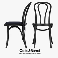 Crate & Barrel - Vienna Black Wood Dining Chair and Cushion