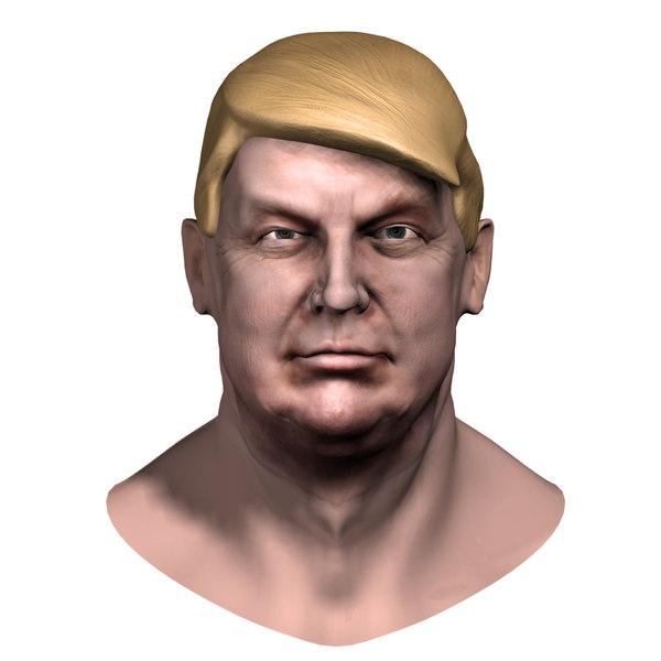3d model of donald trump zbrush head