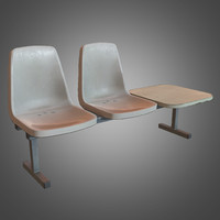 Laundromat Chairs w Table - 02 - PBR Game Ready
