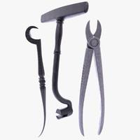 3d 3 old dentist tools model