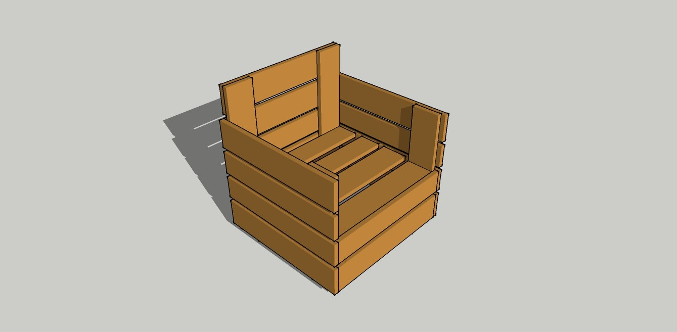 3d model of pallet armchair