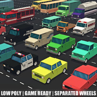 Low poly vehicles - car pack