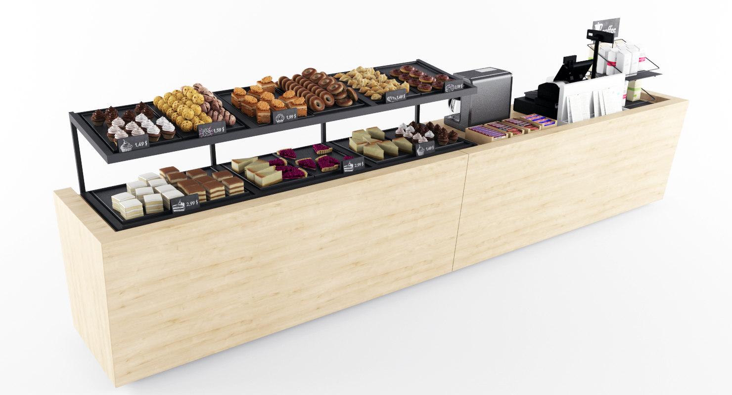 3d bakery case display model