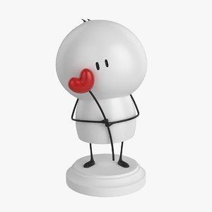 3d model little guy heart