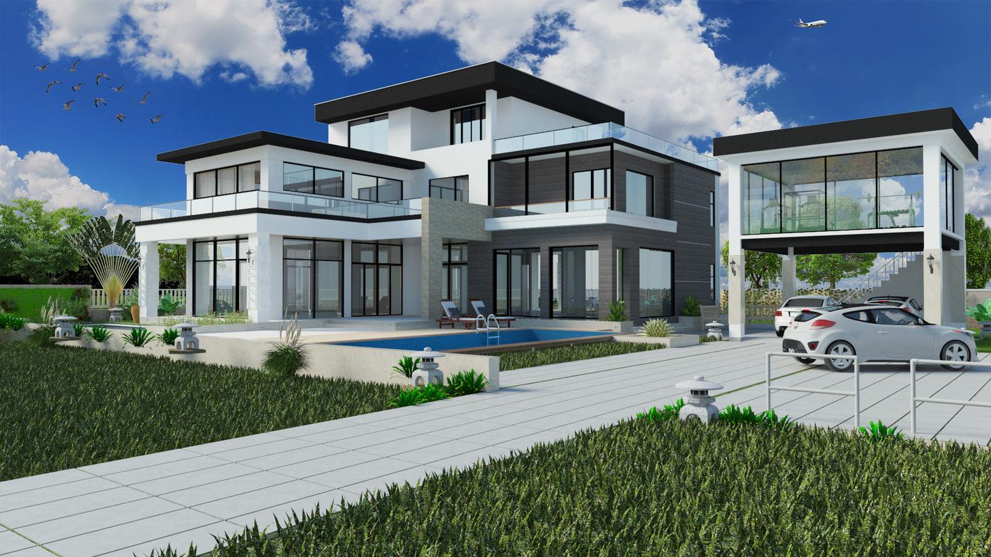 modern villa house 3d model