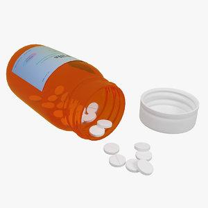 3d bottle pills model