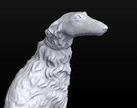 3d sculpture russian wolfhound borzoi model
