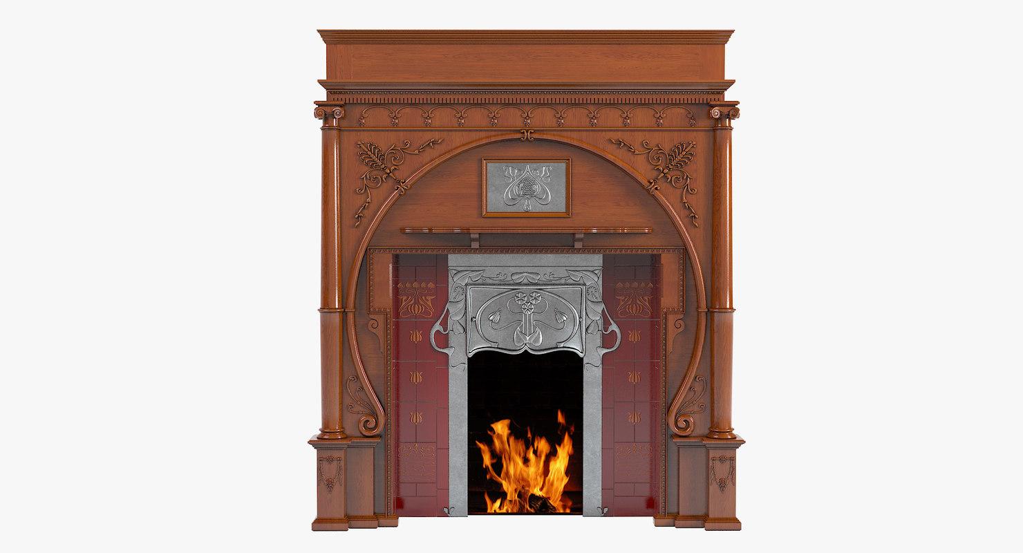 3d model of carved oak art nouveau