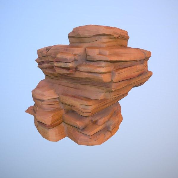 big red desert rock 3d obj
