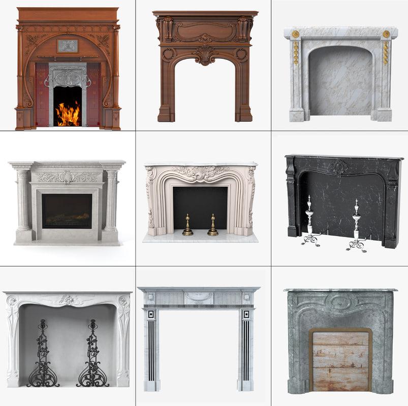 3d model grand fireplaces set