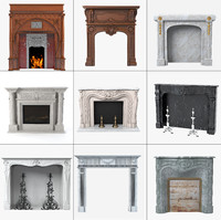 3d model grand fireplaces set