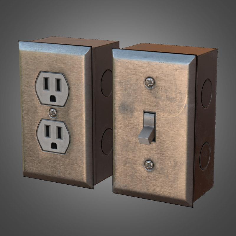 3d light switch wall plug
