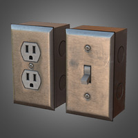 Light Switch and Wall Plug - PBR Game Ready