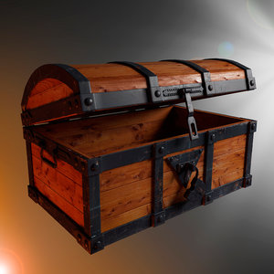 3d chest wood metal