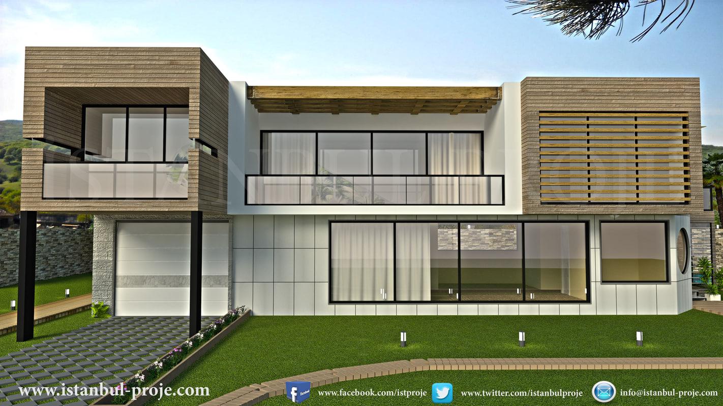 modern villa house 3d obj