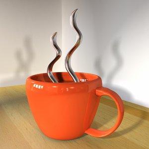 3d model coffee mug steam cup