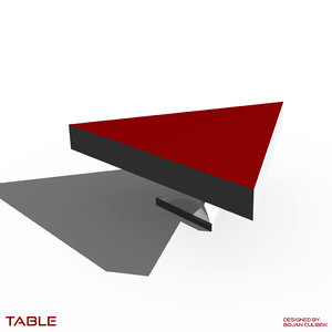 3d triangular table set model