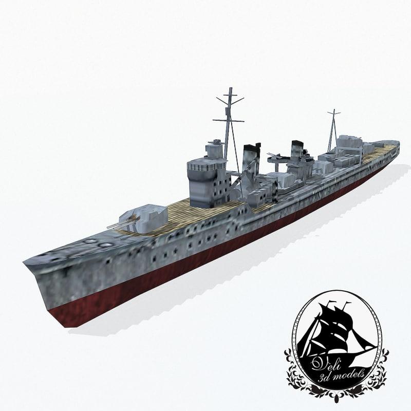 destroyers kagero class 3d 3ds