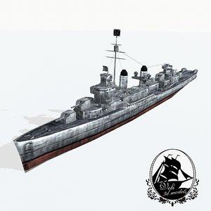 3d model fletcher class destroyers