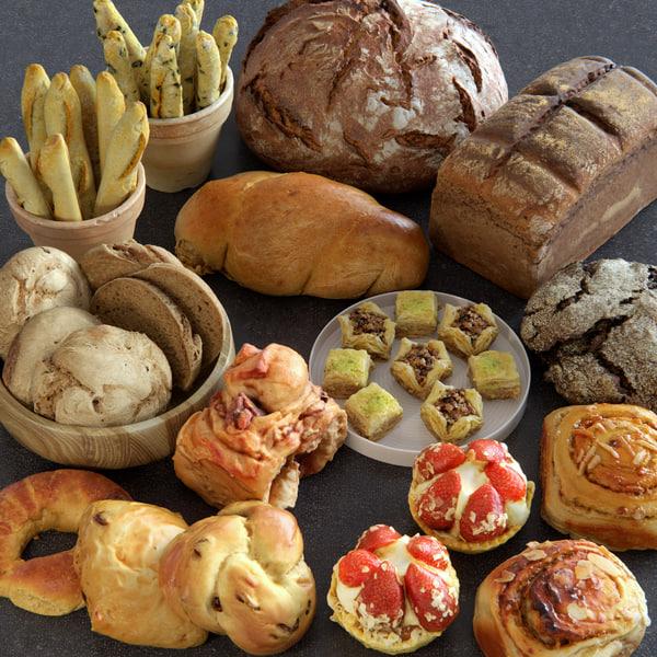 3d model food bread assets