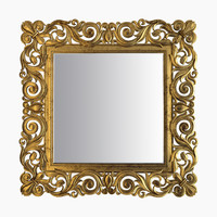 3d model gold square mirror