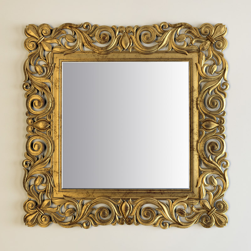 3d model gold square mirror