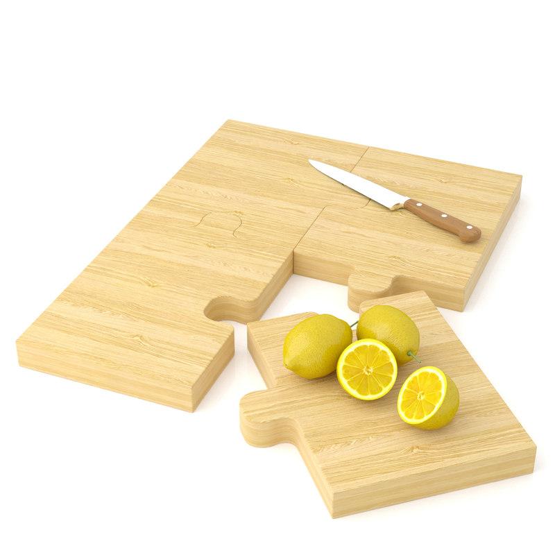 puzzle cutting board woodbob 3d model