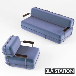 3d model pebble sofa easy