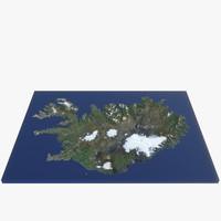 3d model iceland volcanic island