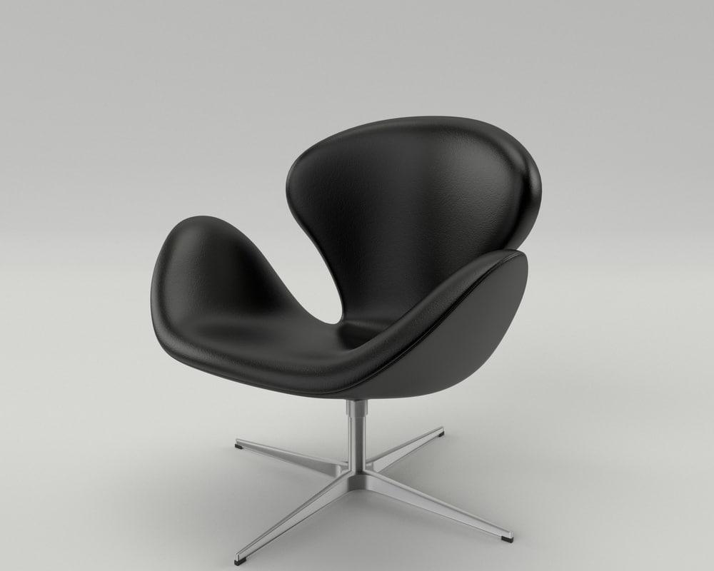 3d model fritz hansen swan chair