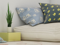 3d model of kid room cushions pillows